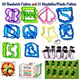 vegetable cutter kids - Sandwich Cutters For Kids 10 Bread Cutters +11 FREE Mini Vegetable Cutters & Fruit Stamp Set -Cheese Press & Mini Cookie Cutters - Large Biscuit cutters For Bento Box Pastry Biscuits By K&S Artisan!