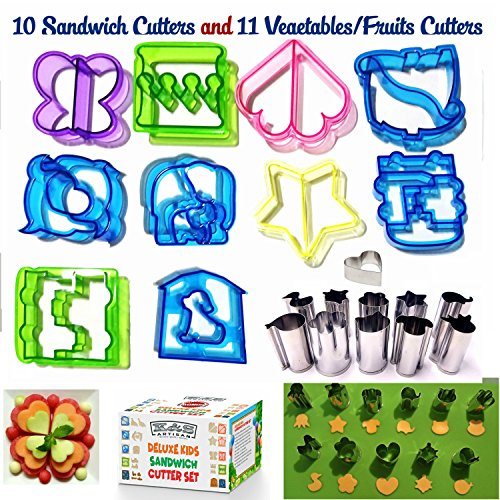 Sandwich Cutters For Kids 10 Bread Cutters +11 FREE Mini Vegetable Cutters & Fruit Stamp Set -Cheese Press & Mini Cookie Cutters - Large Biscuit cutters For Bento Box Pastry Biscuits By K&S Artisan!