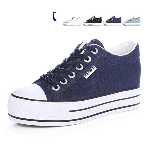 Classic Decollege Primavera Encaje Lienzo Zapatos Mujer 8ZxxCwd1