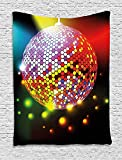 XHFITCLtd Popstar Party Tapestry, Vibrant Colorful Disco Ball Nightclub Celebration Party Dance and Music Print, Wall Hanging for Bedroom Living Room Dorm, 60 W X 80 L Inches, Multicolor