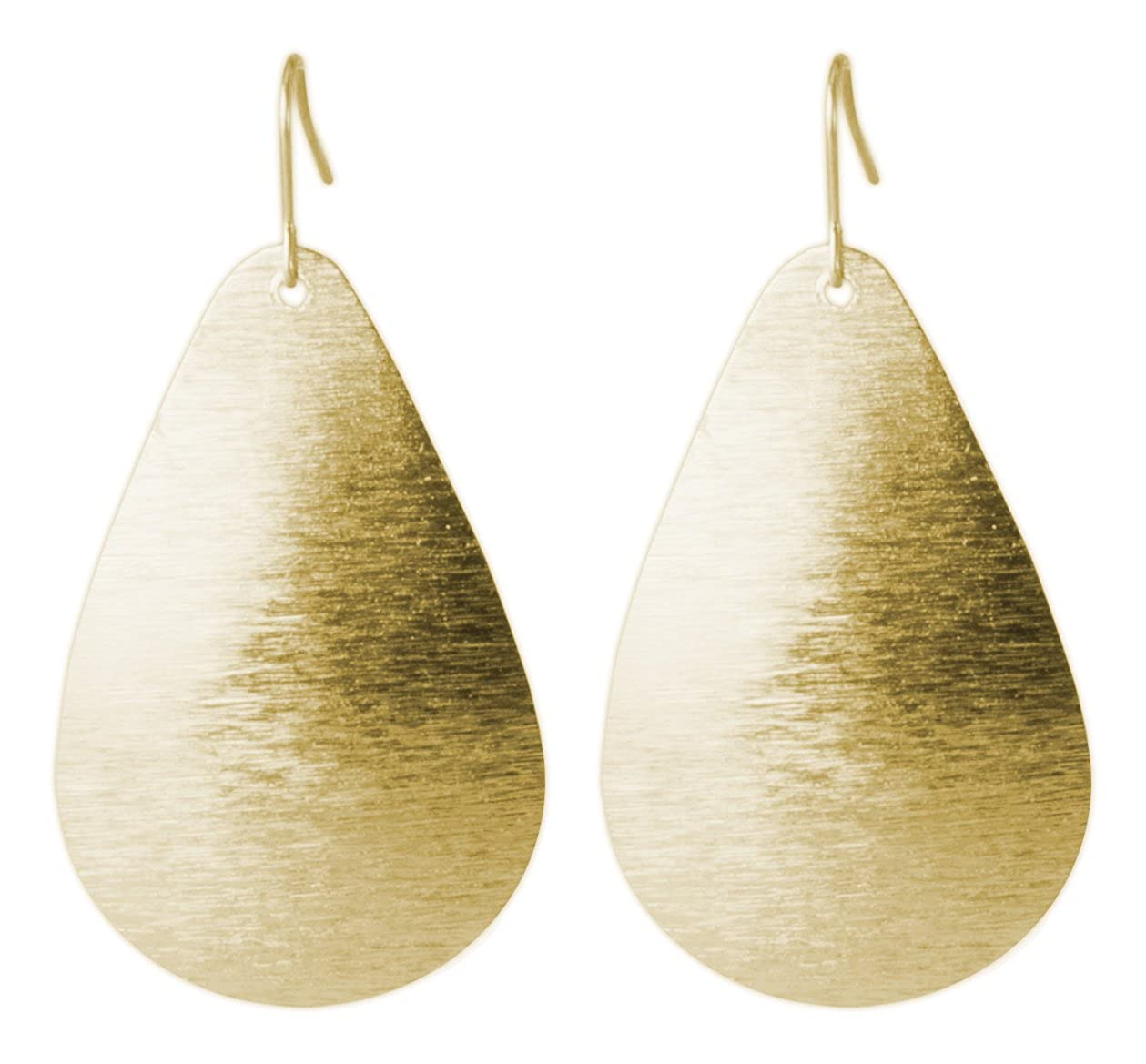 Brushed Gold or Silver Light Weight Teardrop Earring | SPUNKYsoul Collection Brushed-gold-silver-earring
