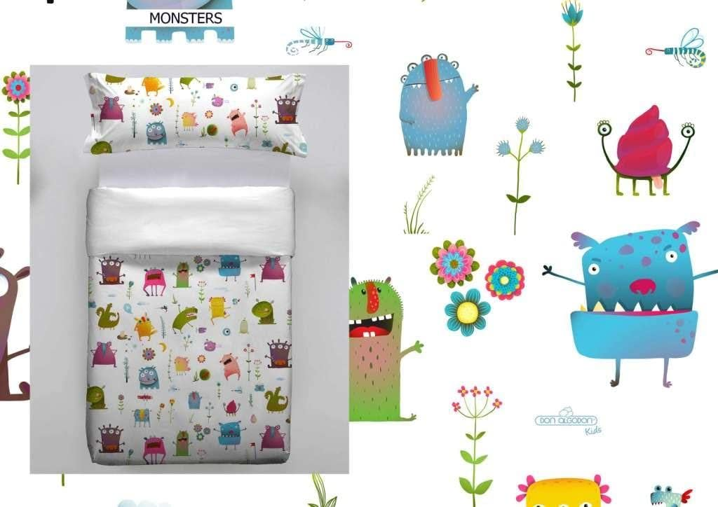 Don Algodon Kids.- Conjunto de funda nordica y almohada Monsters ...
