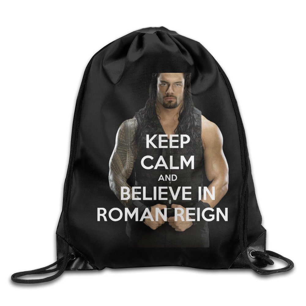 Keep Calm And Believe In Roman Reigns Drawstring Backpack Bag White