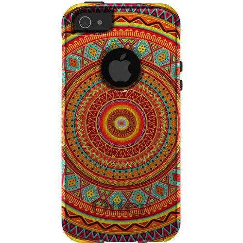 Custom OtterBox Commuter Series Case for Apple iPhone 5 5S - Orange Teal Yellow Tribal