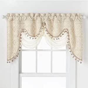 Amazon Com Goodgram Ultra Elegant Clipped Jacquard Georgette Fringed Window Valance With An Attached Sheer Swag Assorted Colors Beige Home Kitchen