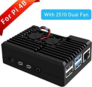GeeekPi Raspberry Pi 4 Armor Case with Dual Fan,Raspberry Pi 4 Passive Aluminum Alloy Case with Cooling Fan for Raspberry Pi 4 Model B (2510 Fan)