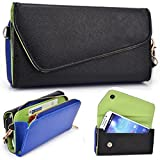 Black and Royal Blue Crossbody Case for Motorola Nexus 6, Moto X Play, Moto X Style, Micromax A119 Canvas XL, Doodle 2, Doodle 3, Doodle 4 Smartphone Phablet