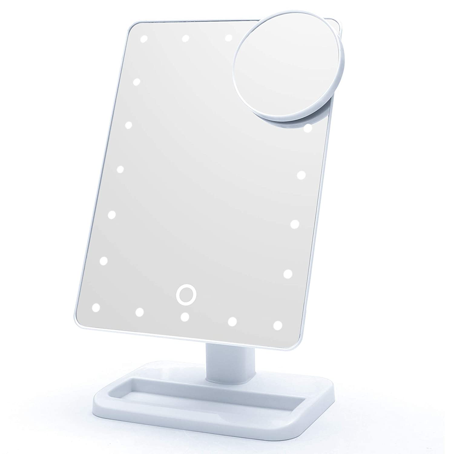 Qivange Makeup Vanity Mirror, Adjustable 20pcs LED Natural Lights with Touch Screen, 180 Free Rotation with Removable 10x Magnifying Countertop Vanity Mirror (White)