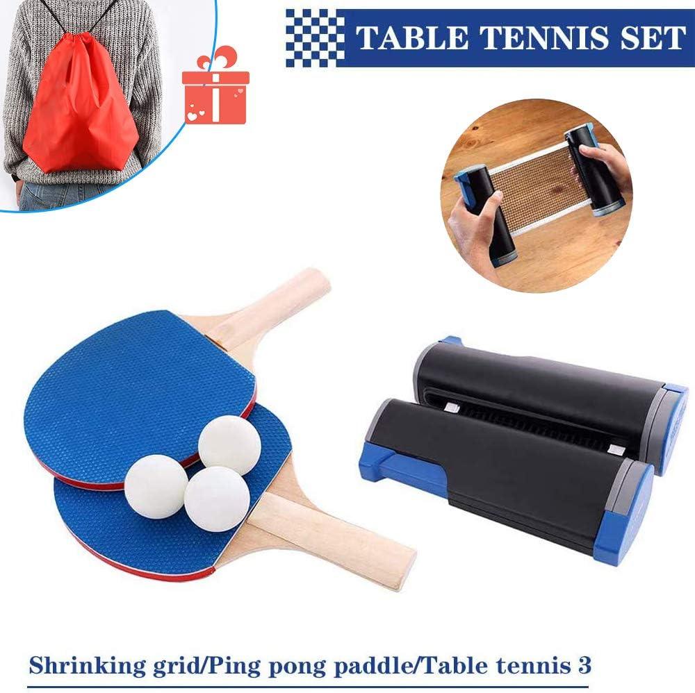 Ping Pong Juego de Tenis de Mesa portátil, Morbuy Red de Tenis de Mesa retráctil (con 2 Raquetas, 3 Pelotas, una Bolsa y una Red retráctil) para Escuela Familia Interiores Juegos