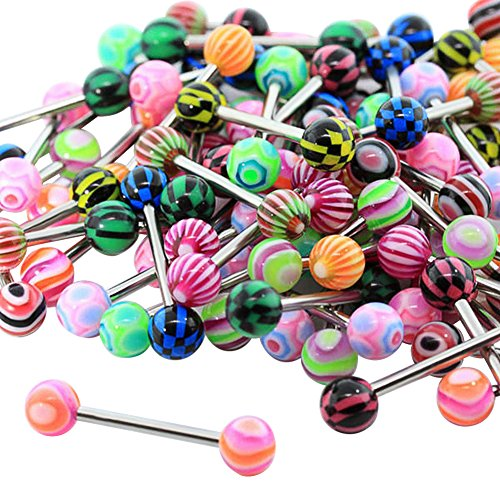 Kuulee Mix-Color Stainless Steel Body Piercing Jewelry Tongue Nail Lip Eyebrow Nose Stud Ring 20pcs/Set