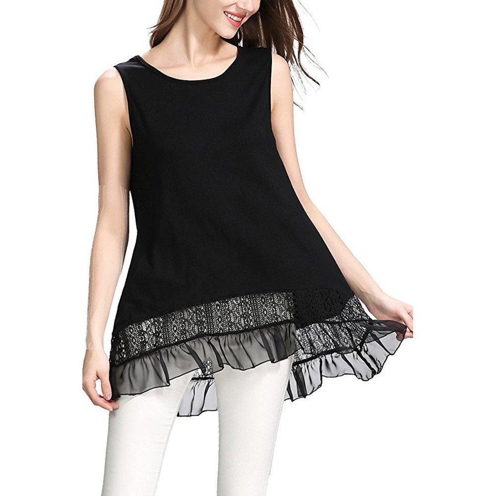 Women Casual Off Shoulder Lace Cami Ruffle High Hem Soft Tunic Tank Blouse Vest Black