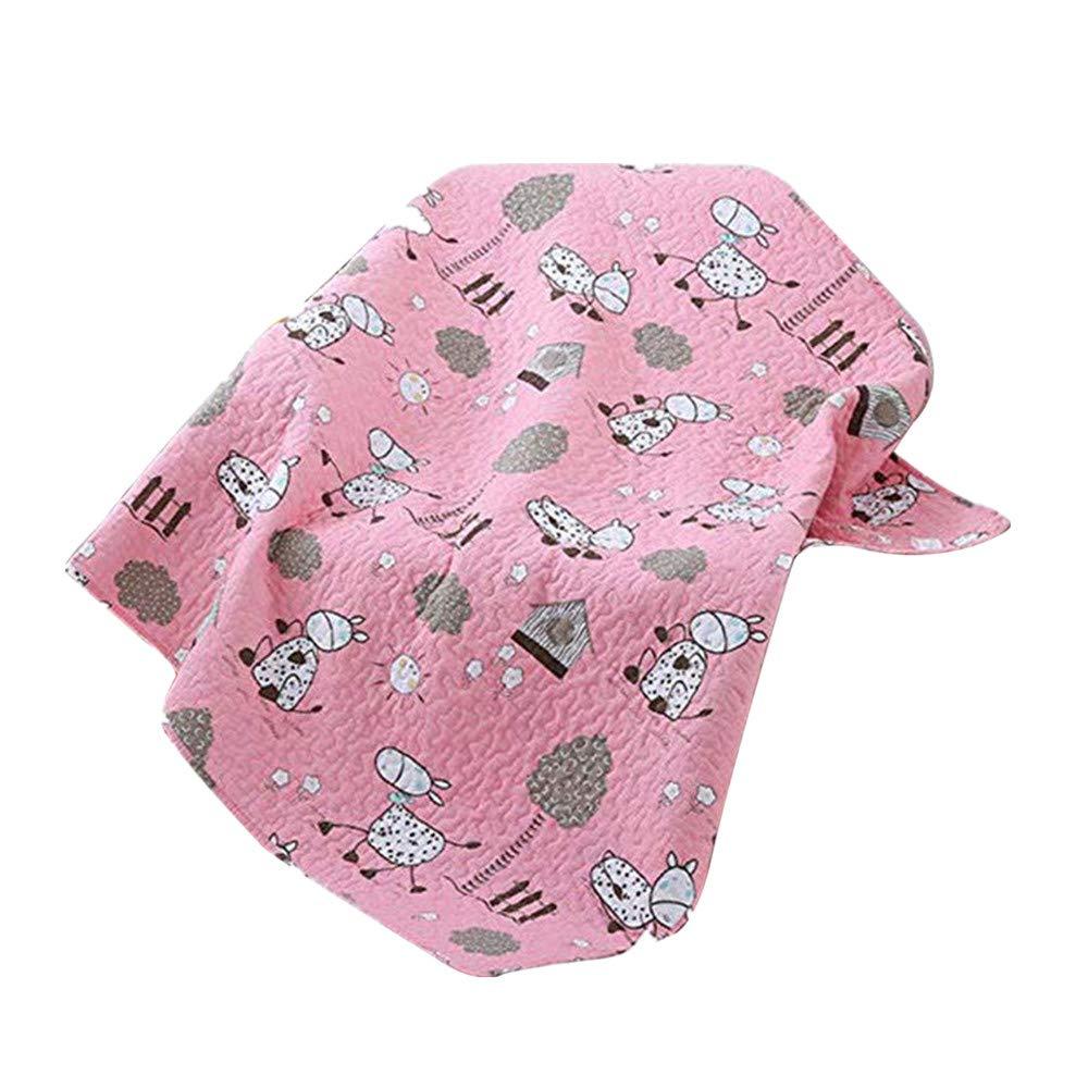 Abreeze Cotton Cute Pink Donkey Coverlet Quilt Bedspread Throw Blanket for Kid's Girl & Boys Kindergarten Air Quilt (55'' X75'')