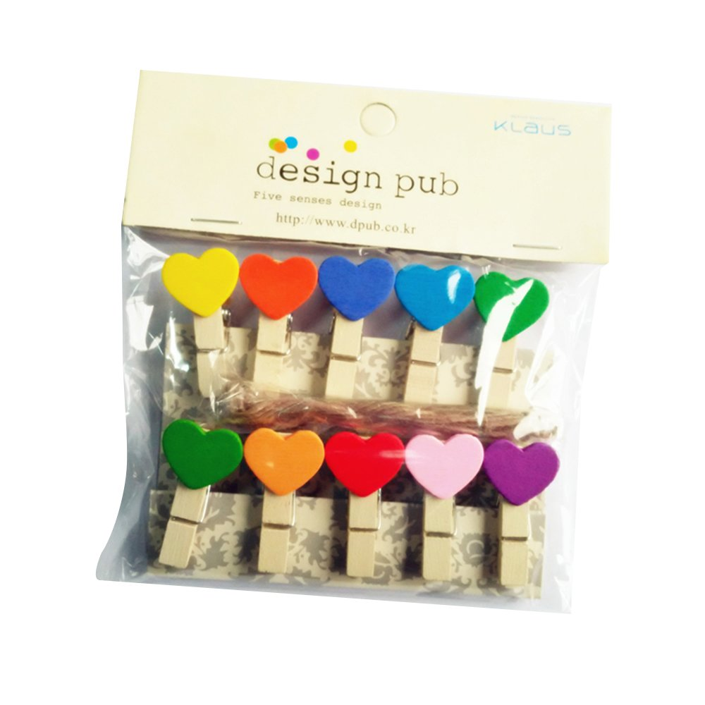 Wooden Pins Pack Of 10 Mini Decorative Photo Clips With