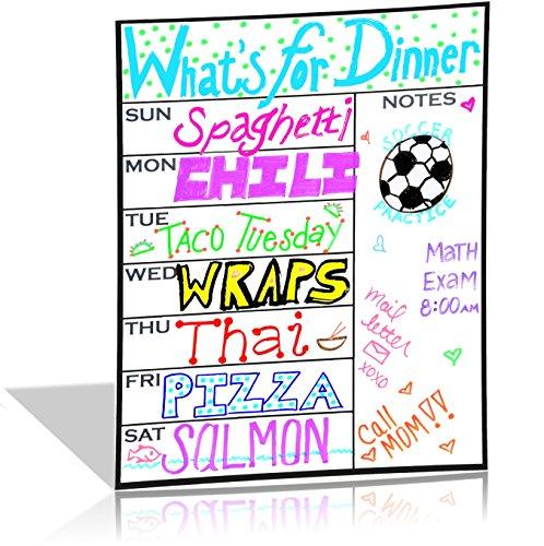 White Magnetic Weekly Calendar Planner Board - Fridge Meal Plan Calendar
