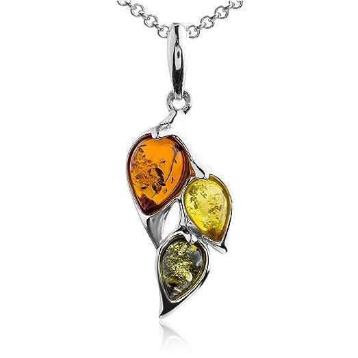Multicolor Amber Sterling Silver Leaves Pendant Necklace Chain 46 cm yEzPU3Jc