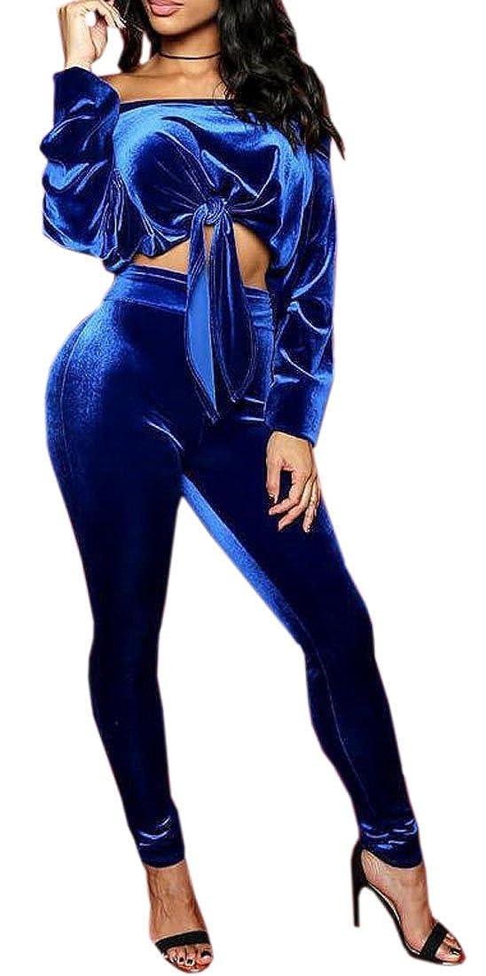 WAWAYA Womens Off Shoulder Crop Top Velvet 2 Piece Bodycon Club Jumpsuits