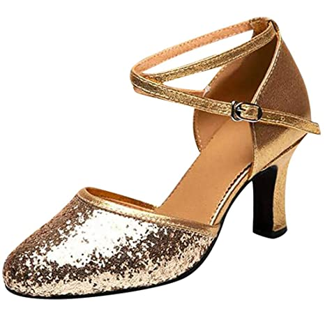 07c3020e0850 Amazon.com  Copercn Women s Ladies Fashion Shining Sequins Close Toe Cross  Ankle Buckle Straps Kitten Heel Pointed Sandals Graceful Dance Shoes Latin  Tango  ...