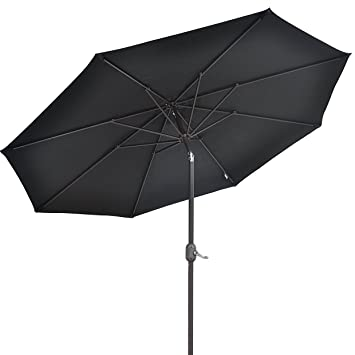 9u0027 PARASOL PATIO NEW GARDEN PATIO UMBRELLA SUNSHADE MARKET OUTDOOR BLACK