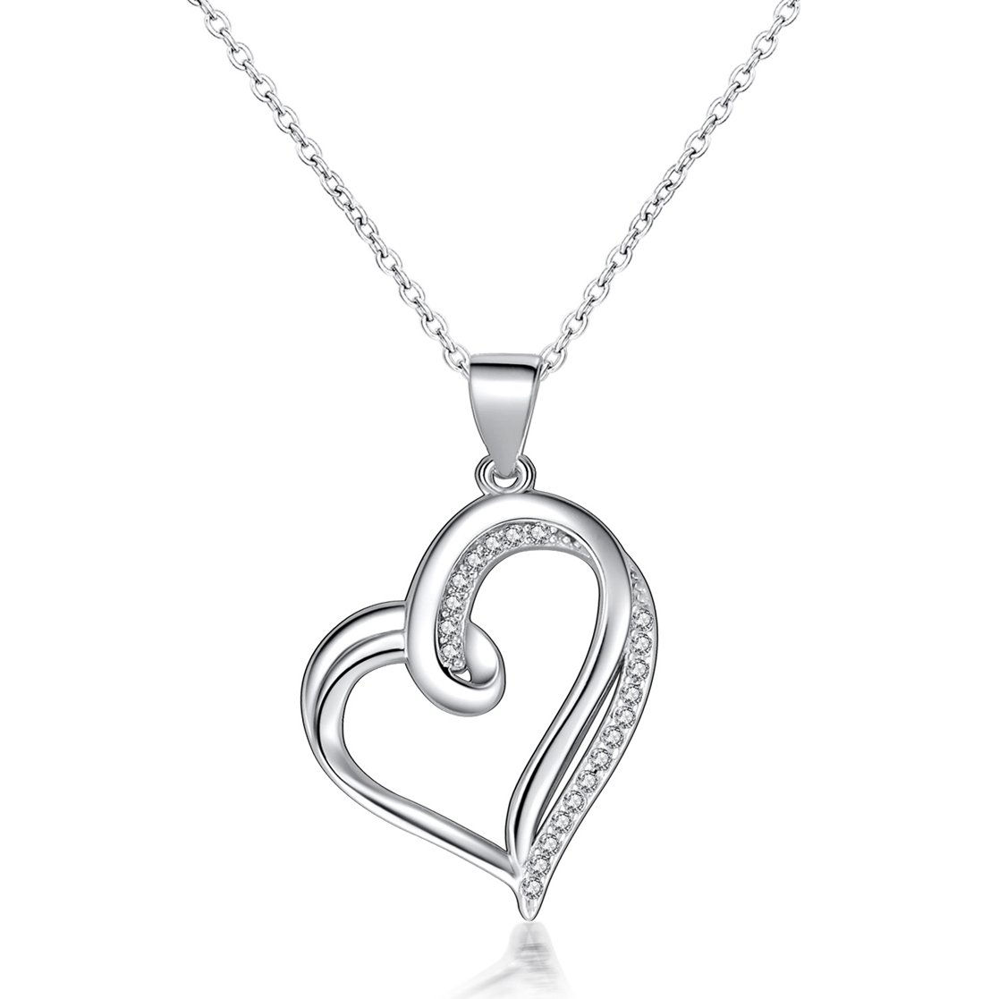 Fine Jewelry Sterling Silver Heart in Love Charm Pendant Necklace, 18 inches