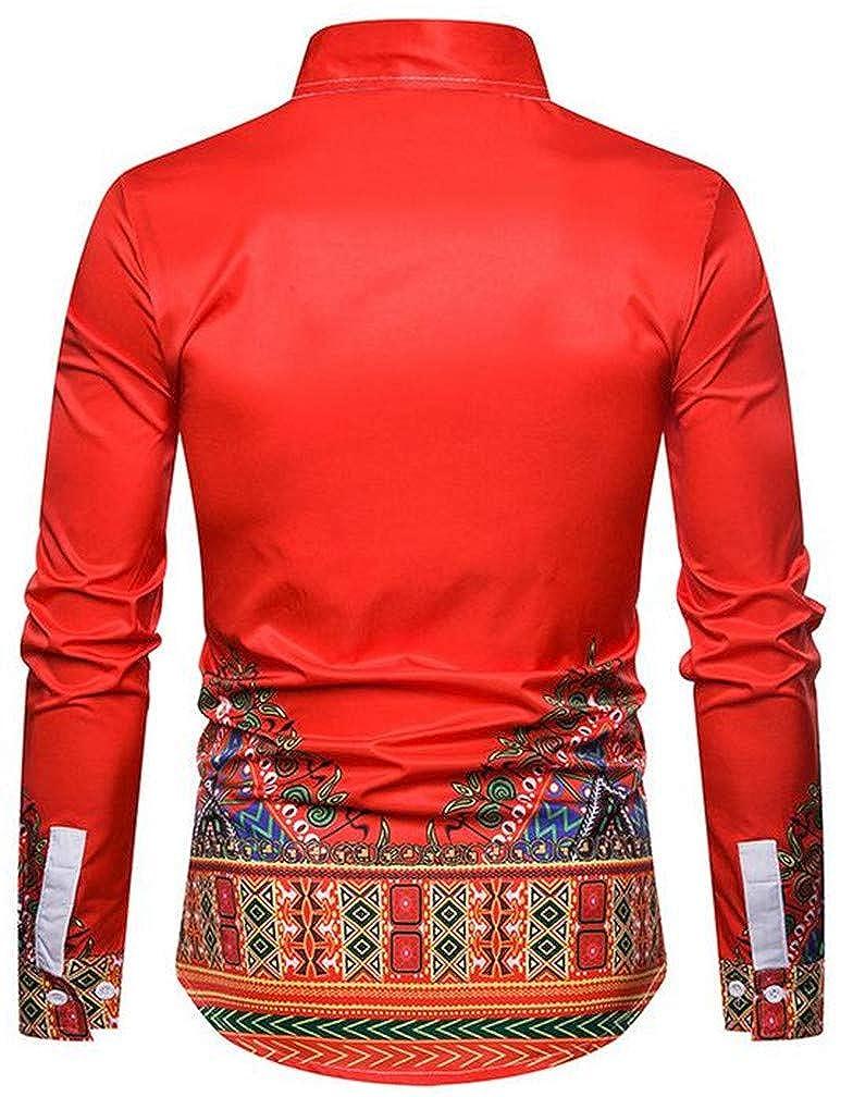 Hajotrawa Men Basic Africa Printed Ethnic Style Lapel Neck Button Down Shirts