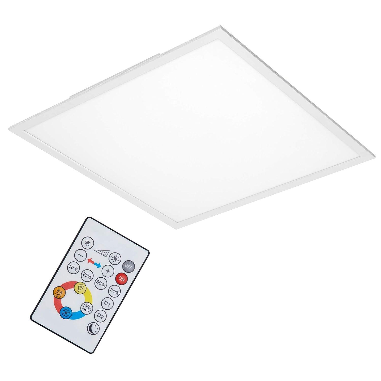 Briloner Leuchten- LED Deckenleuchte-Panel, dimmbar, Farbsteuerung, Fernbedienung, 36W, 3800 lm, LED-Lampe, Wohnzimmerlampe, Deckenlampe, weiß, 59.5 cm weiß 7195-016