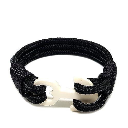 ba3f89cb346b Pulsera náutica de ancla de hueso negro de Bran Marion - Pulseras únicas  hechas de cuerda náutica - Personalizaciones ...
