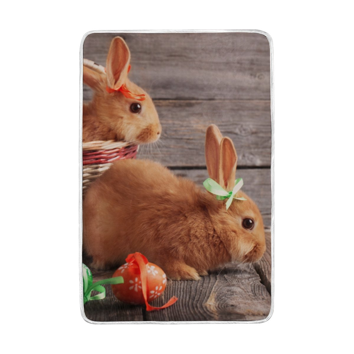 Vantaso Soft Blankets Throw Easter Egg And Bunny On Wood Board Microfiber Polyester Blankets for Bedroom Sofa Couch Living Room for Kids Children Girls Boys 60 x 90 inch