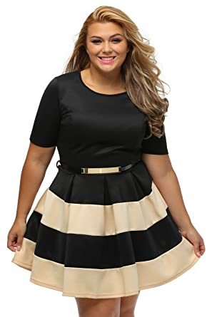 a023c7bbda2d Image Unavailable. Image not available for. Color  Women s Plus Size  Stripes Detail Belted Skater Short sleeve Midi Dress ...