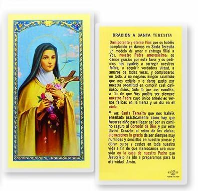 Amazon.com: Santa Teresita Del Nino Jesus Tarjeta De Rezo Laminada Bendita Por Su Santidad Francisco: Jewelry