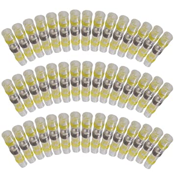 Eagles 50pcs Terminales eléctricos soldar corrugado thermorétractable terminales cobre eléctrico, 20 rojo, 15 azul, 10 Color blanco, 5 amarillo inalámbrico ...