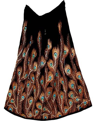 1X Size Rayon Skirt Indian Hippie Rock Gypsy Kjol Jupe Retro Falda Women