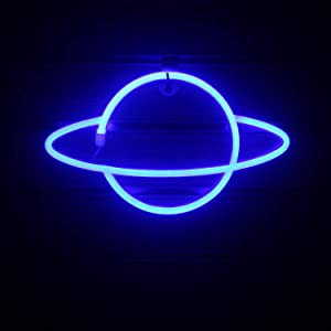 Neon Signs for Wall Decor, USB Operated LED Neon Lights for Man Cave, Bedroom, Bathroom, Bar, Party, Christmas Gifts, Cute Night Light Lamp(Planet,Hanging Hole)
