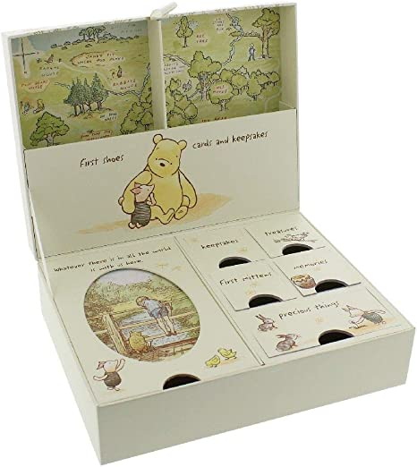 Happy Homewares Disney Winnie The Pooh Keepsake Box with Drawers and Map of Hundred Acre Wood - Officially Licensed