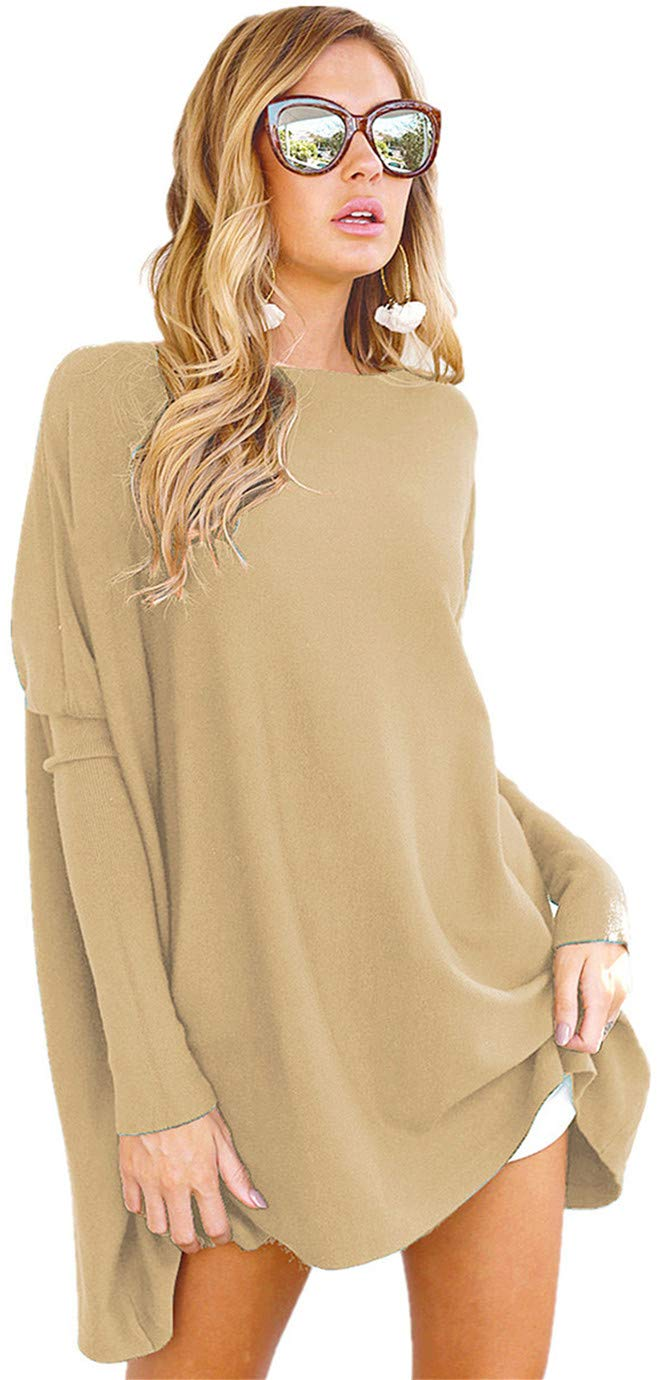 LIYOHON Women's Tunic Tops for Leggings Casual Oversized Shirts Batwing Long Sleeve Loose Fitting Pullover Tops Tunics 1-Khaki XL by LIYOHON