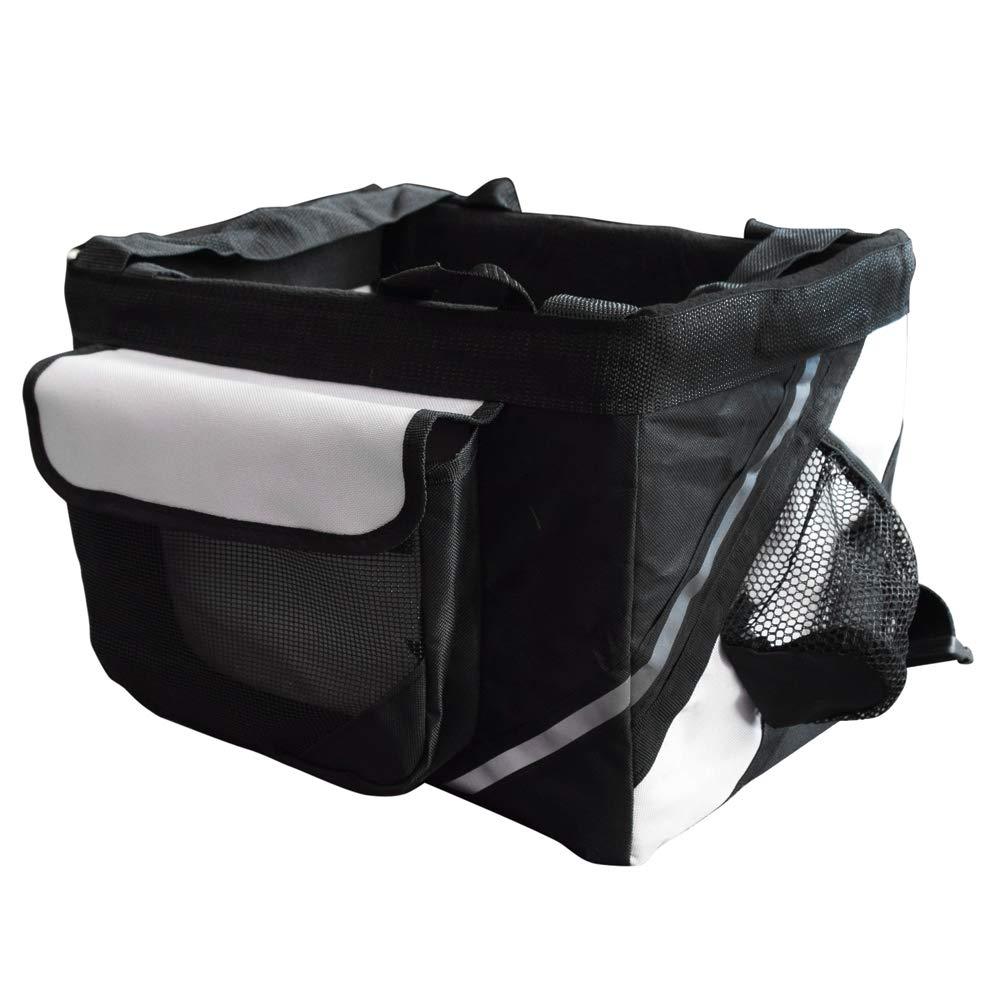 Samber Pet Carrier Bicycle Basket Bag Dogs & Cats Travel Safety Belt Front Bicycle Carrier Pet Carrier Bicycle Basket Bag Pet Carrier Bottle Pocket Safe Reflectiv Stripes (Black)