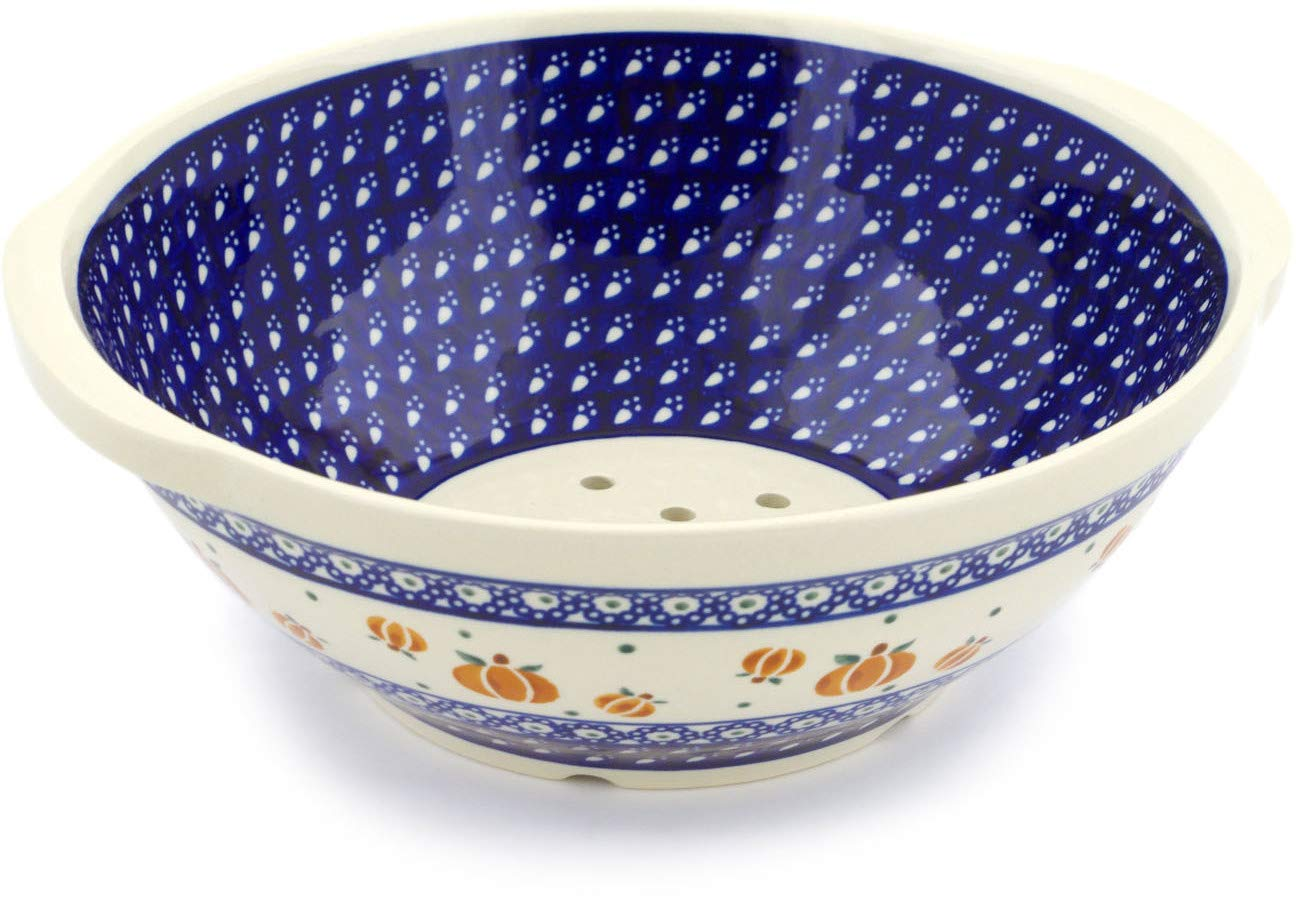 Polish Pottery 10-inch Colander (Pumpkin Spice Theme) + Certificate of Authenticity