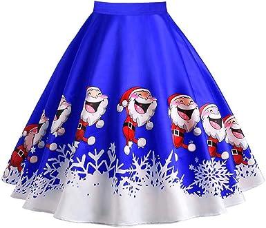 CLOOM Navidad Vestido Corto Falda Vuelo Sexy Cintura Alta Vestidos ...