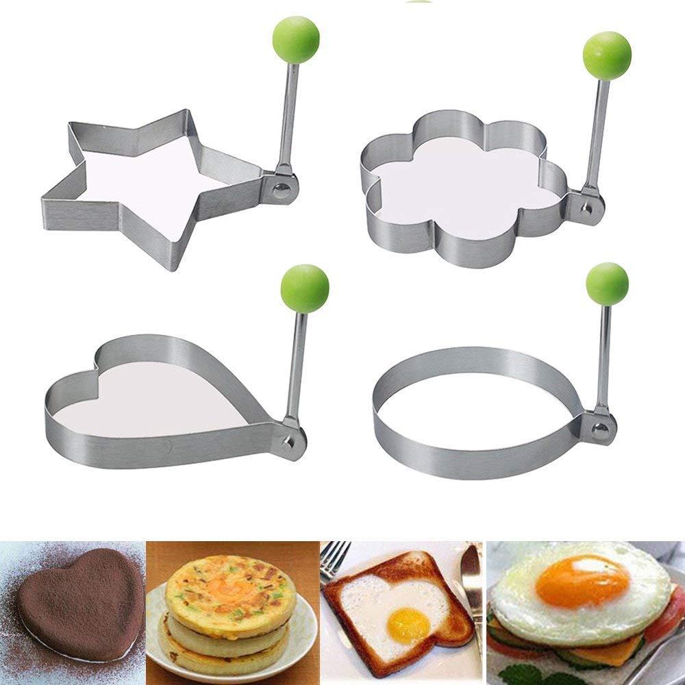 Stick Omelette Moule en Acier Inoxydable de qualit/é Alimentaire Moule /à po/êles Egg Fried Pancake EI Anneaux Coquetier EXQUILEG 4 Non