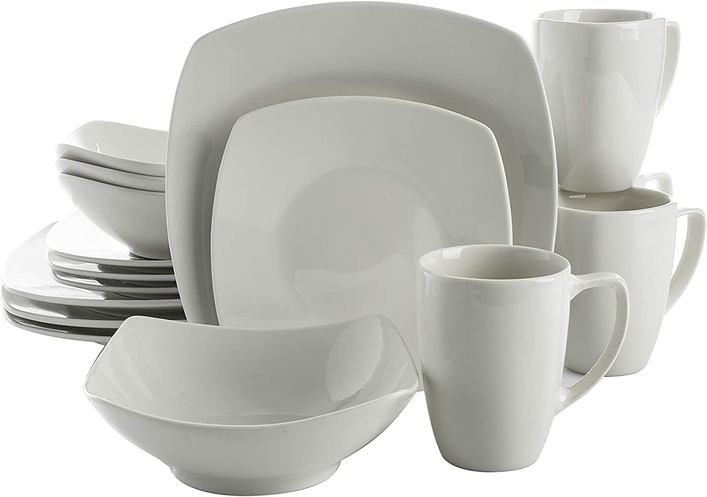 | Gibson Home Zen Buffet Dinnerware Set, Service for 4 (16pcs), White (Square): Dinnerware Sets