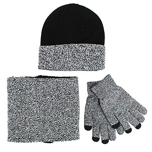 Van Caro Knit Warm Hat Neck Warmer Touchscreen Gloves Set for Men Women (Grey) ()