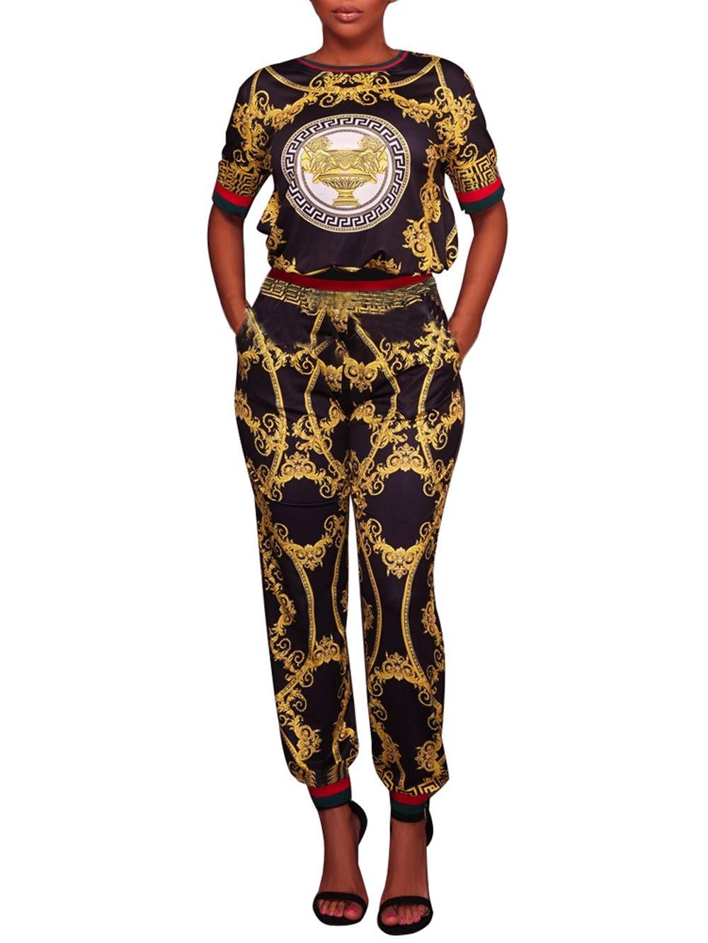 PlushZone Women's Casual Floral Print Short Sleeve Top 2 Pieces Outfits Long Pants Jumpsuit, Black, Medium