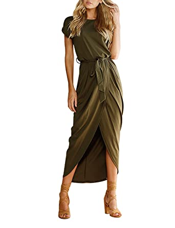 8d839de64b92 Yidarton Womens Casual Short Long Sleeve Split Wrap Party Maxi Dresses(Army  Greem