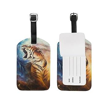 ALAZA Resumen Etiqueta de Equipaje Tiger PU Bolsa de Cuero Tag Maletas de Viaje ID Identificador de Equipaje Etiqueta: Amazon.es: Equipaje