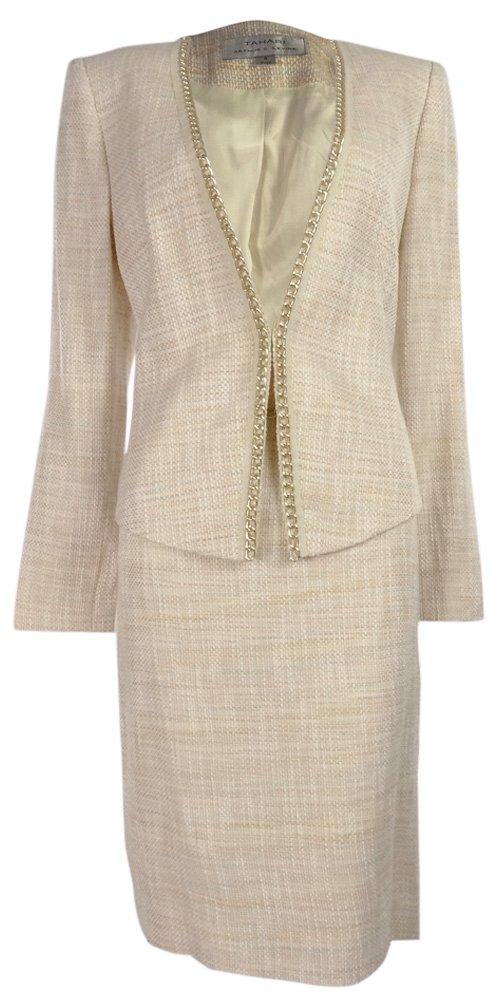 Tahari Women's Sasha Vintage Vibe Skirt Suit Set (10, Pink/Ivory/Yellow) by Tahari Arthur S. Levine