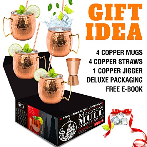 Moscow Mule Copper Mugs - Set of 4-100% HANDCRAFTED - Food Safe Pure Solid Copper Mugs - 16 oz Gift Set with BONUS: Highest Quality Cocktail Copper Straws and Jigger! by Benicci (Image #3)