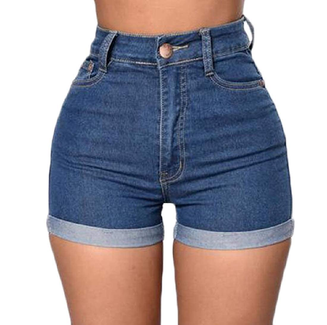 Lutratocro Womens High Waist Cuffed Jeans Washed Slim Fit Denim Shorts