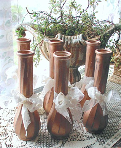 Rose Gold Vases, Glass Bud Vases, Painted Jars and Bottles, Shabby Chic, Weddings, Centerpieces, Flower Vases, Decorative Jars, Distressed -