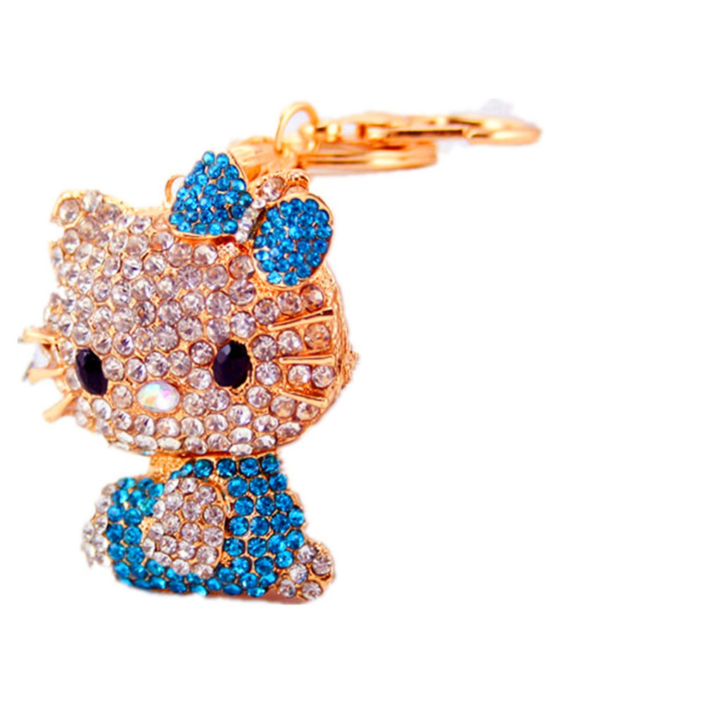 Mr。Malcolmキュートバタフライノットブーツ猫キーチェーンチェーンバッグペンダント Add a button total length of 13 cm ブルー  ブルー B077YMT5P8