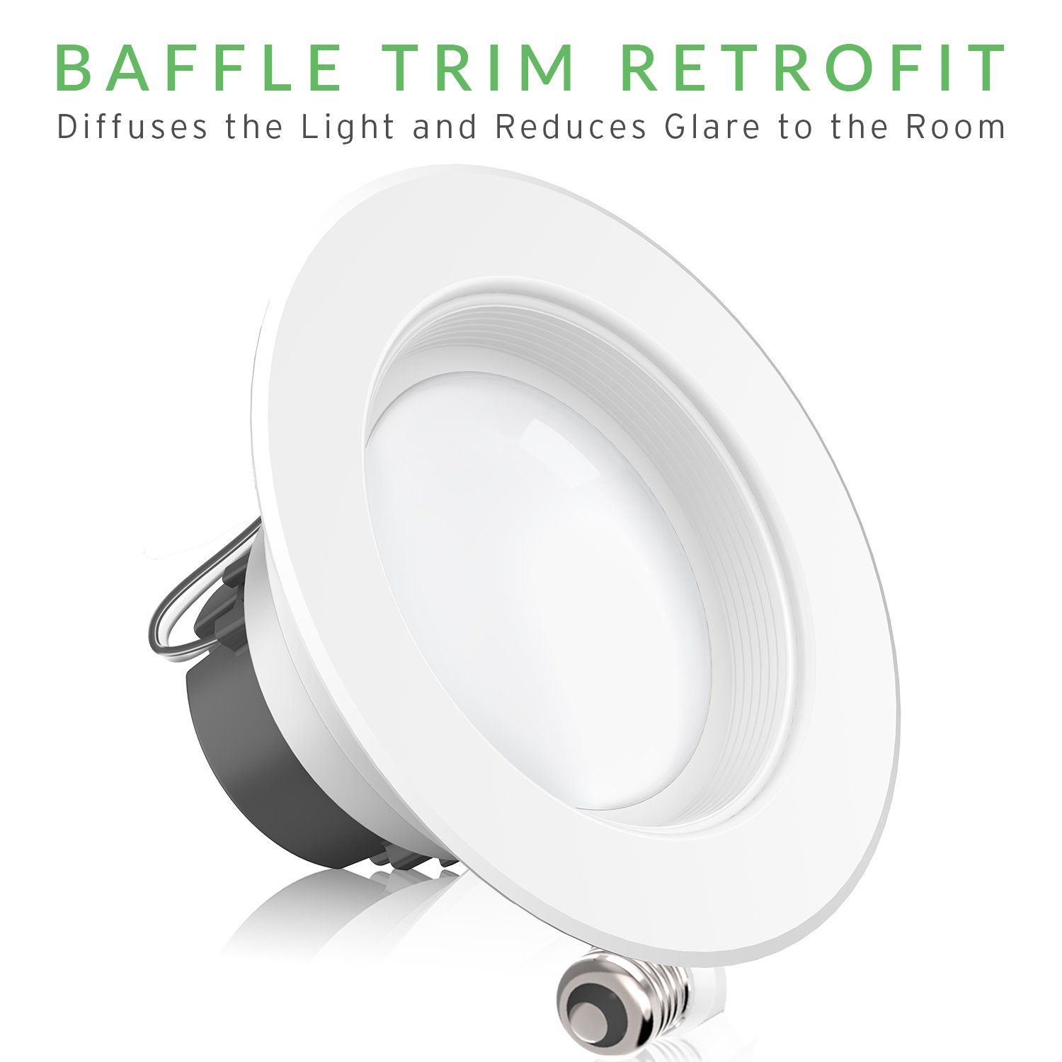 Sunco Lighting 6 Pack 4 Inch Baffle Recessed Retrofit Kit Dimmable LED Light, 11W (40W Replacement), 3000K Kelvin Warm White, Quick/Easy Can Install, 660 Lumen, Wet Rated by Sunco Lighting (Image #6)