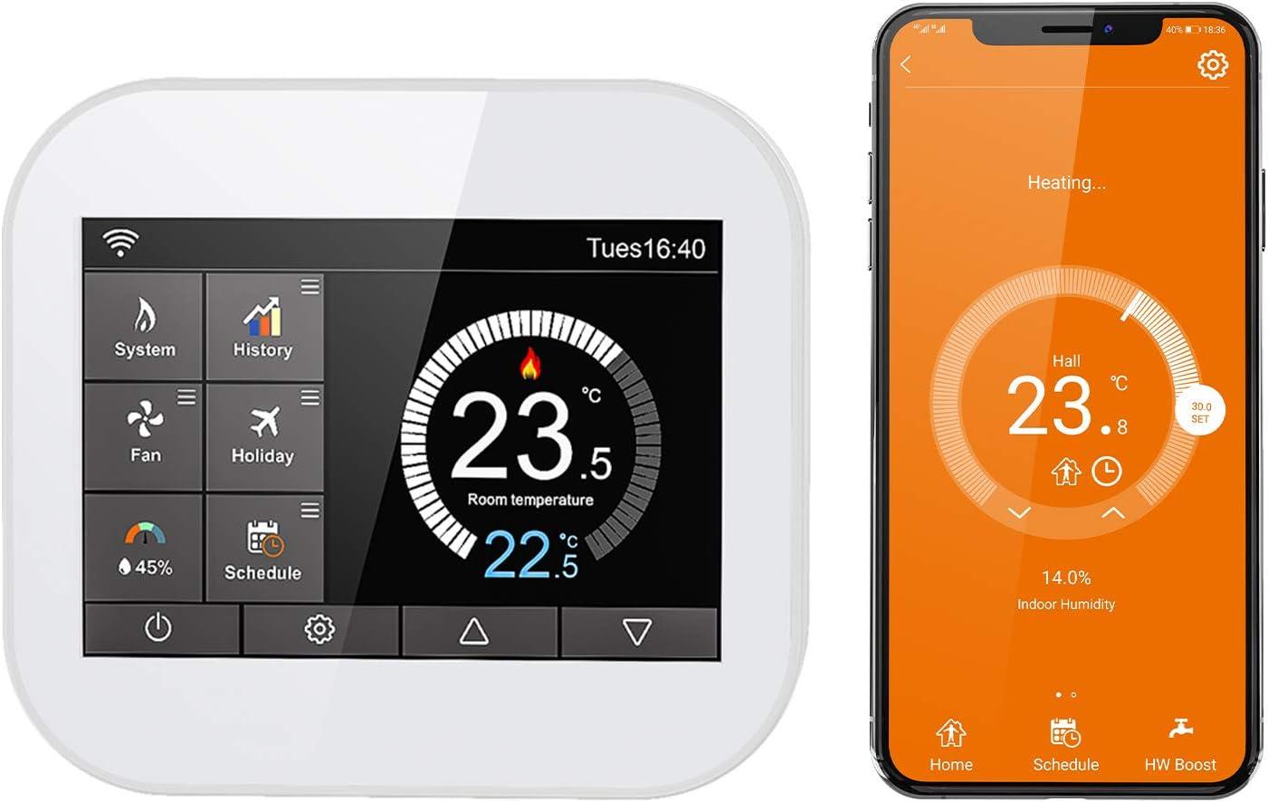 Termostato Inteligente WiFi CURCONSA para Calderas de Gas, Pantalla Táctil TFT Color de 3.5 Pulgadas, Compatible con Aleax, Asistente de Google. (Agua / calefacción eléctrica, Blanco)